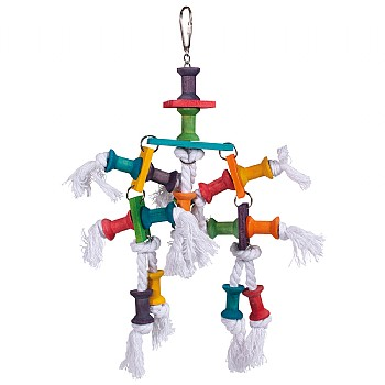 Dancing Spools Wood and Rope Parrot Toy