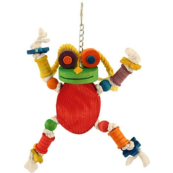 Northern_Parrots Freddie Frog Wood & Rope Parrot Toy