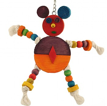 Monty Mouse Wood & Rope Parrot Toy