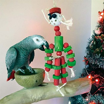 Father Christmas Wood and Rope Parrot Toy