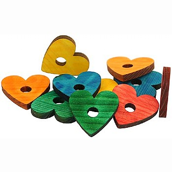 Coloured Pine Wood Hearts -  Parrot Toy Parts - 10 Pack