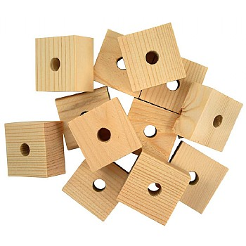 Natural Wooden Blocks Medium - Parrot Toy Parts - 12 Pack