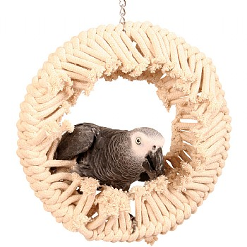 Perch and Swing Fluffy Cotton Ring Parrot Toy - Large