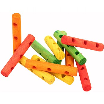Paradise_Toys Colourful Wood Drilled Dowels - Parrot Toy Parts - 16 Pack