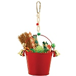 Festive Toy Bucket with Bells Parrot Toy