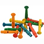 Coloured Dowel Wood Pegs - Parrot Toy Parts - 15 Pack