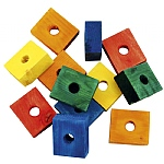 Coloured Wood Blocks - Parrot Toy Parts - Pack of 12