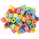 Multi-Coloured Plastic Beads - Parrot Toy Parts - 60 Pack