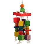 4 Way Spin Wood & Rope Parrot  Toy